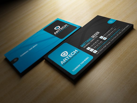 Black And Blue Business Card Business Card Templates Creative Market
