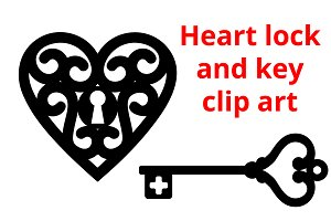Heart and Key, vector clip art