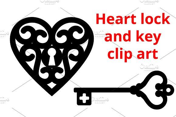 Heart And Key Vector Clip Art Graphics Creative Market
