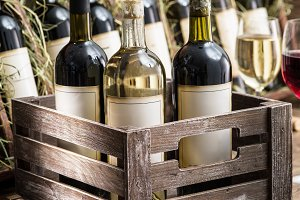 wine bottles in a wooden crate.