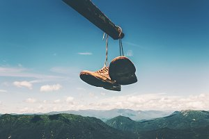 Shoes trekking boots hanging