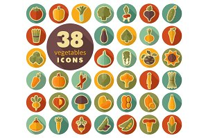 Vegetables flat retro icons set