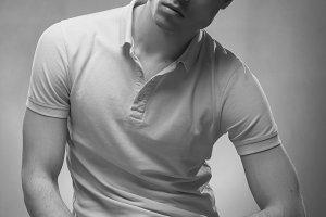 black and white, man posing jawline
