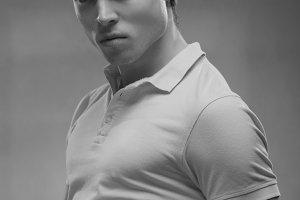 black and white, man posing portrait