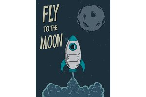 Retro poster.Rocket fly to the moon