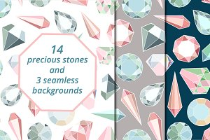 Diamonds set & seamless patterns
