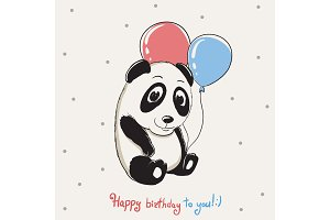 Happy cute panda keeps balloons