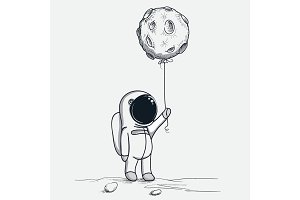 Cute astronaut keeps abstract balloon like a moon