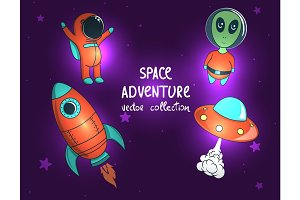 collection of space objects and characters.