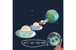 Happy cute alien offers us live together