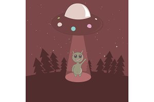 Cute humanoid touchdown to Earth from UFO