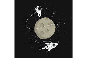 Cute astronaut with moon