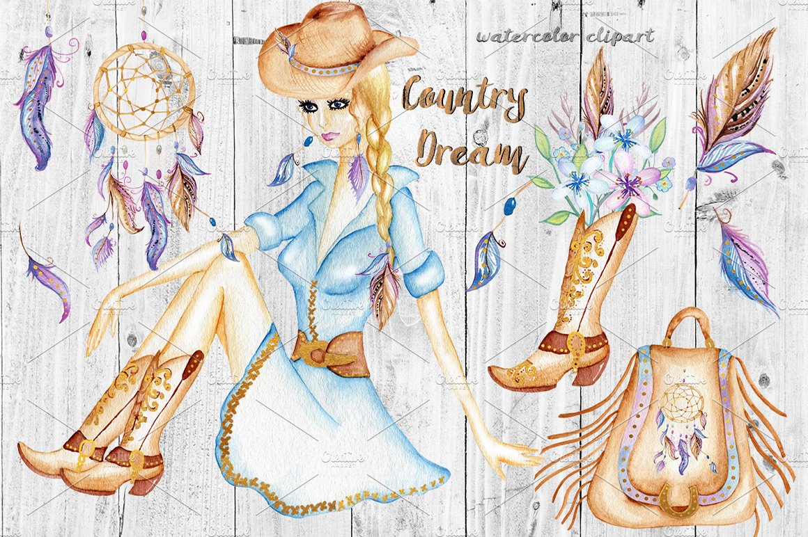 Watercolor Western Clipart. Cowgirl. ~ Illustrations ...