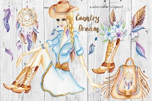 Watercolor Western Clipart. Cowgirl.