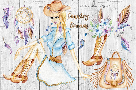 Watercolor Western Clipart. Cowgirl. ~ Illustrations on Creative ...