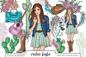 Fashion Girl Country Chic Clip Art