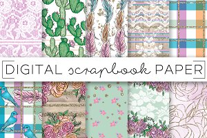 Pink Green Country Digital Papers