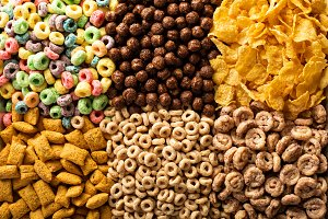 Variety of cold cereals overhead