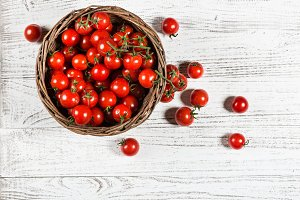 Wicker basket with cherry tomatoes