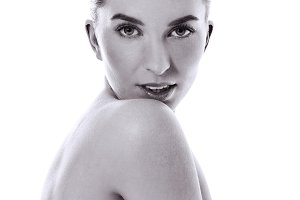 Beauty Woman face Portrait. Black and white photo