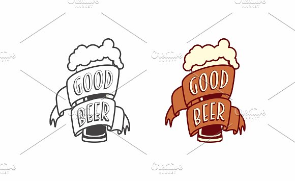 Logo craft beer with glass