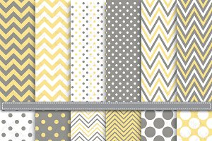 Yellow Grey Chevron Polka Dot