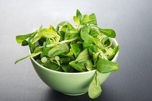 Bowl with fresh lamb's lettuce