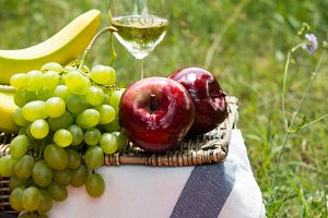 Picnic concept - wine and fruits