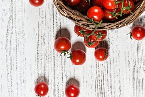 Tomatoes cherry in a basket.