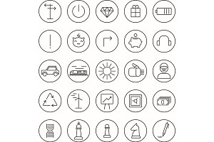 Stroke thin line icons for Web and Mobile