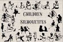 Vintage Children Silhouette Graphics