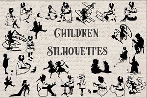 Vintage Children Silhouette Graphics