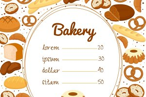 Bakery menu or price poster