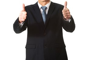 Mature businessman gesturing ok sign