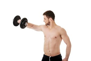 Muscular sports man weightlifting.