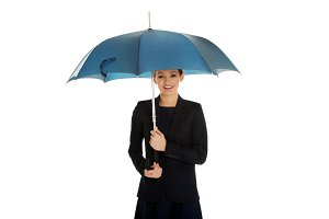 Business woman is holding blue umbrella.