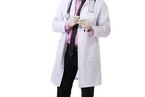 Male doctor holding a syringe.