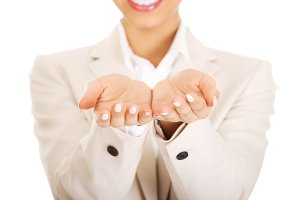 Businesswoman showing empty hands.