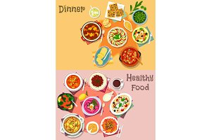 Mediterranean cuisine dishes icon set design