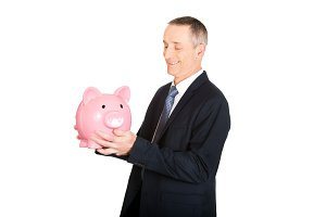 Businessman with piggybank