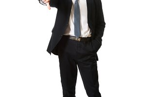 Businessman showing thumb down sign