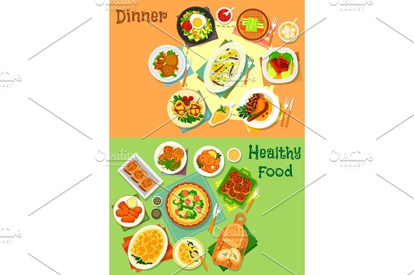 Main dishes for lunch and dinner icon set