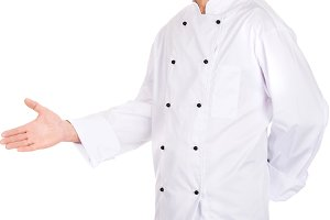 Happy mature chef with welcome gesture