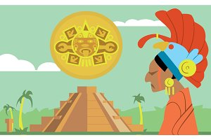 Pyramid Maya, chief of tribe Maya. Vector Mayan.
