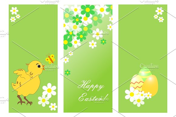 Set of cute Easter cards with chicken, flowers and colored eggs. in Illustrations