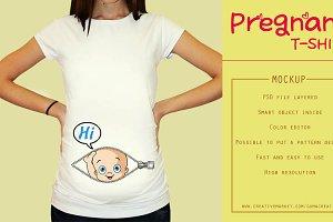 Pregnant T-shirt Mockup