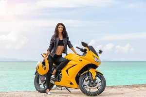 Brunette with yellow sportbike