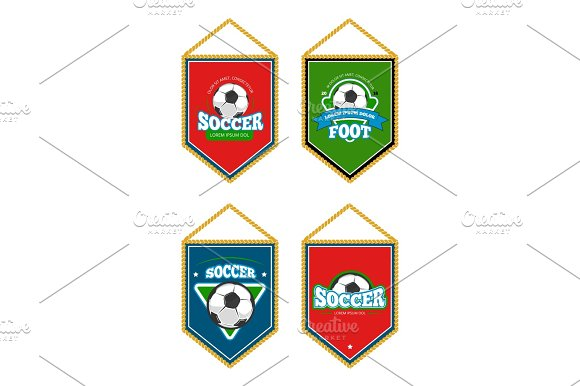 Soccer Club Pennants Set With Logo Templates Isolated