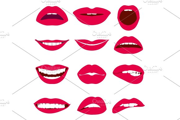 Woman Lips Expression Vector Icons Set