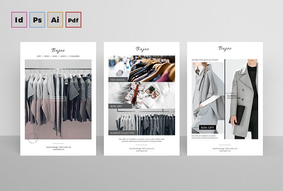 Postcard flyers fashion card templates creative market for Indesign postcard template 4x6